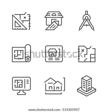 Set line icons of architectural