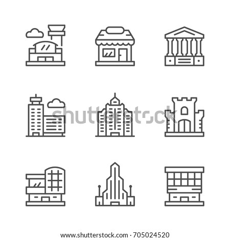 Set line icons of buildings isolated on white. Contains such icons as shop, castle, airport, sky, shopping mall, hotel, scraper, business center, museum and more. Vector illustration