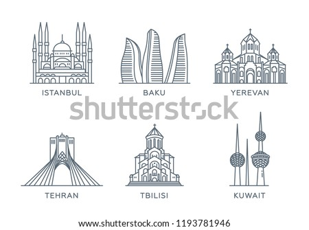 Set line icons of cities. The collection of the most famous and largest cities of Near East. Flat design, trendy style. Vector, white isolated. Istanbul, Baku, Yerevan, Tehran, Tbilisi, Kuwait