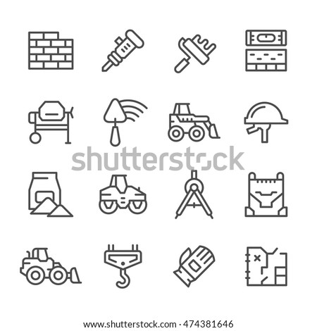 Set line icons of constructing industry
