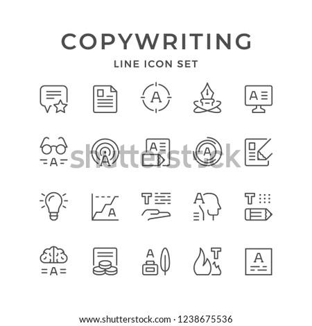 Set line icons of copywriting