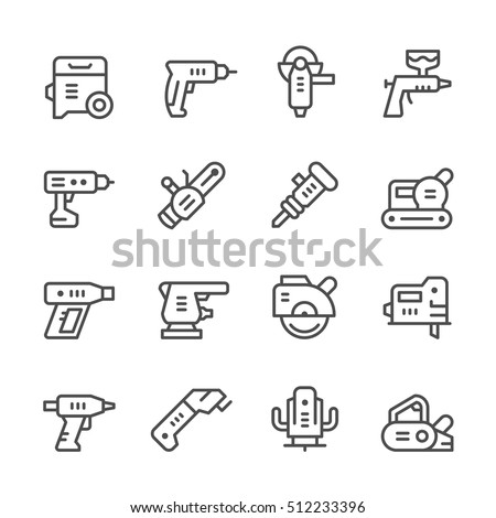Set line icons of electric tools