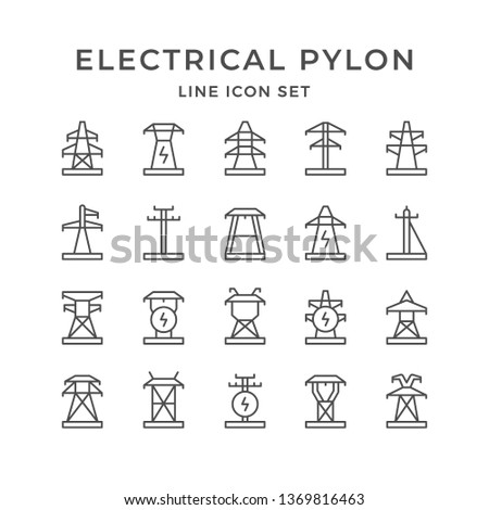 Set line icons of electrical pylon Photo stock ©