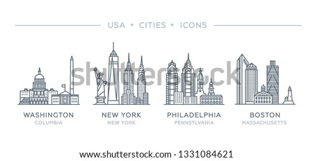 Set line icons of famous and largest cities of USA. Vector illustration, flat design. State of Columbia, New York, Pennsylvania, Massachusetts. Philadelphia, Boston, New York City, Washington
