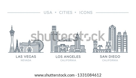 Set line icons of famous and largest cities of USA. Vector outline illustration, flat design, white isolated. State of Nevada and California. Las Vegas, Los Angeles, San Diego