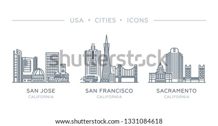 Set line icons of famous and largest cities of USA. Vector outline illustration, flat design, white isolated. State of California. San Francisco, San Jose, Sacramento