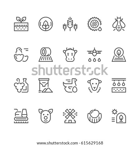 set line icons of farming and