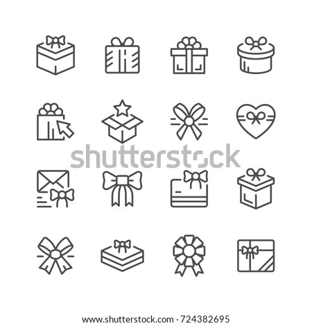 set line icons of gift isolated