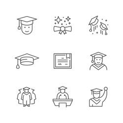 Set line icons of graduation