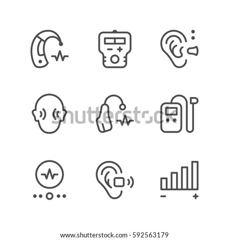 Set line icons of hearing aid