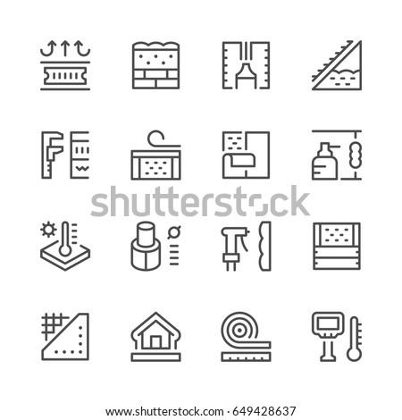 Set line icons of insulation
