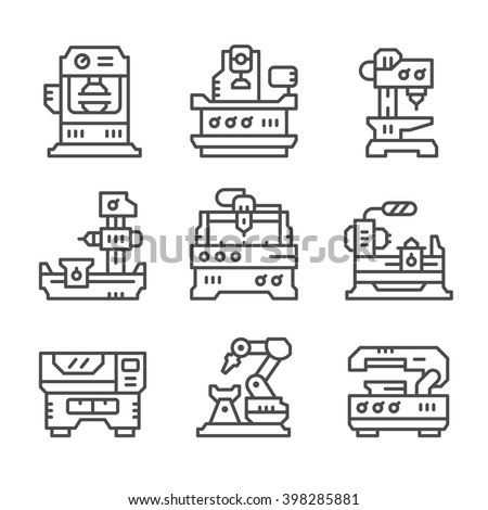Set line icons of machine tool
