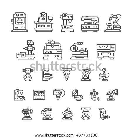Set line icons of machine tool, robotic industry