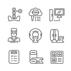 Set line icons of magnetic resonance imaging