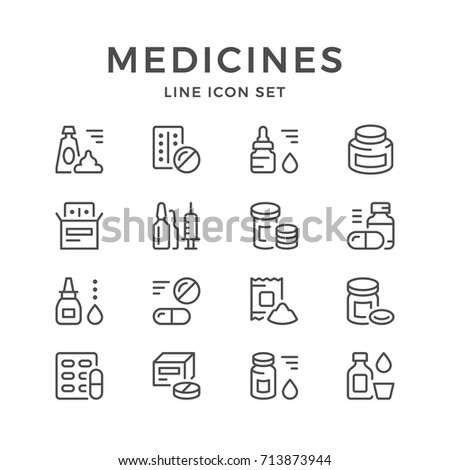 Set line icons of medicines isolated on white. Contains such icons as pill, capsule, spray, tablet, supplements, vaccine, powder, ointment, vitamin, ampoule, blister and more. Vector illustration
