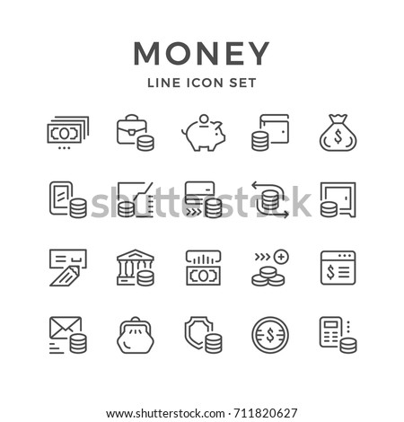 Set line icons of money isolated on white. Contains such icons as coin, exchange, cash pouch, purse, credit card, check, calculator, bank, moneybox, graph, safe and more. Vector illustration