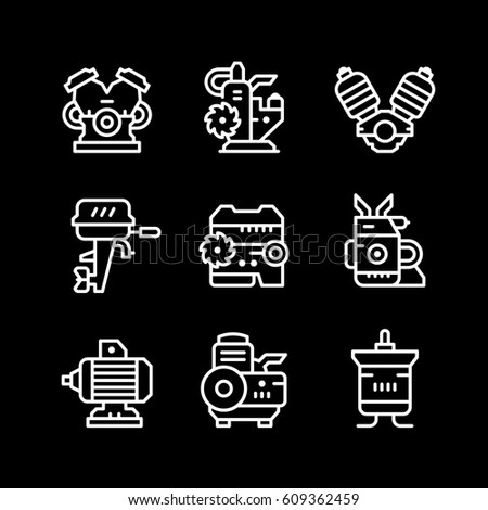 Set line icons of motor and engine isolated on black. Vector illustration