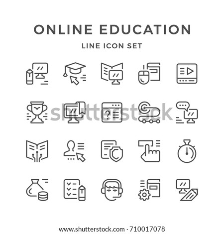 Set line icons of online education isolated on white. Contains such icons as e-learning, webinar, course, tutorial, payment, stopwatch, reward, tutor, exam, communication and more. Vector illustration
