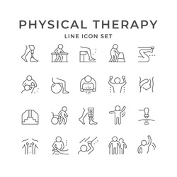 Set line icons of physical therapy