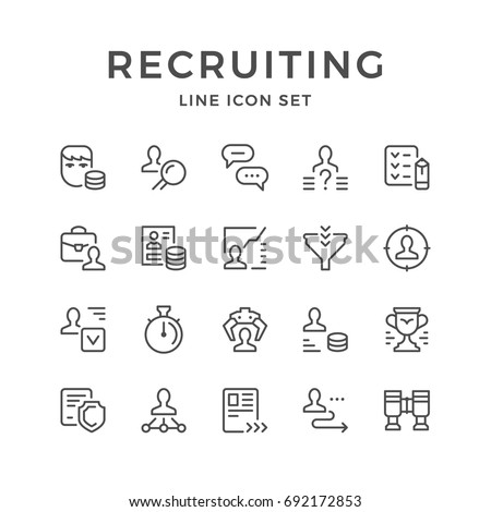 Set line icons of recruiting isolated on white. Contains such icons as recruitment agency, employees search, resume, interview, human resource, salary, management and more. Vector illustration
