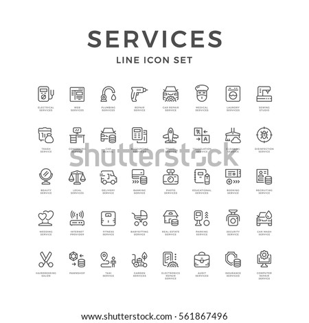 Set line icons of service isolated on white. Vector illustration