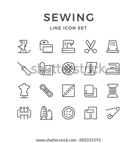 Set line icons of sewing isolated on white. Contains such icons as sewing machine, cloth roll, thread, mannequin, pin, measuring tape, scissors, awl, spool, button, and more. Vector illustration