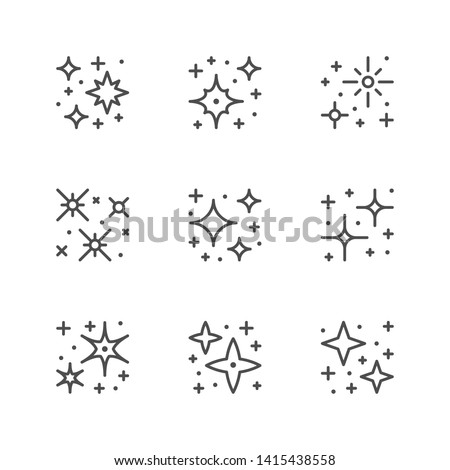 Set line icons of sparkling and twinkling Stock photo ©