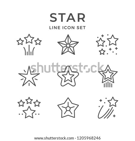 Set line icons of star
