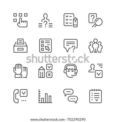 Set line icons of survey isolated on white. Contains such icons as checklist, poll, diagram, people group, questionnaire, Call center employee, ballot box and more. Vector illustration