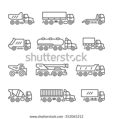 Set line icons of trucks isolated on white. Vector illustration