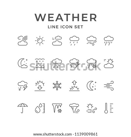 Set line icons of weather