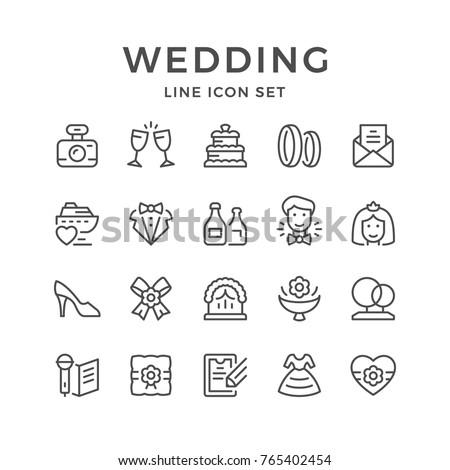 Set line icons of wedding