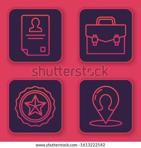 Set line Identification badge, Police badge, Briefcase and Map marker with a silhouette of a person. Blue square button. Vector