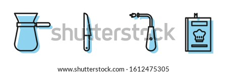 Set line Long electric lighter, Coffee turk, Knife and Cookbook icon. Vector