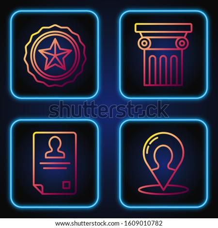 Set line Map marker with a silhouette of a person, Identification badge, Police badge and Law pillar. Gradient color icons. Vector