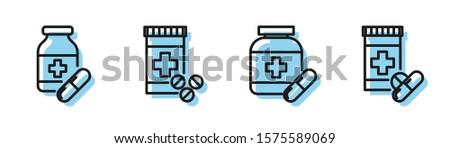 Set line Medicine bottle and pills, Medicine bottle and pills, Medicine bottle and pills and Medicine bottle and pills icon. Vector