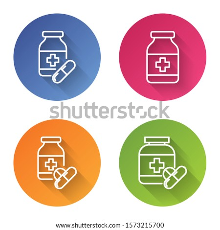 Set line Medicine bottle and pills, Medicine bottle, Medicine bottle and pills and Medicine bottle and pills. Color circle button. Vector