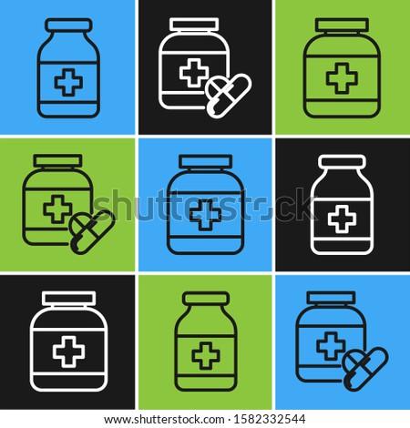 Set line Medicine bottle, Medicine bottle and Medicine bottle and pills icon. Vector