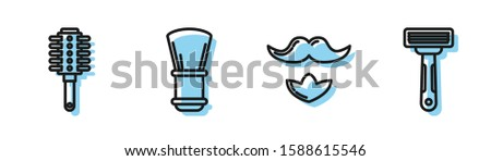 Set line Mustache and beard, Hairbrush, Shaving brush and Shaving razor icon. Vector