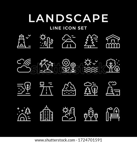 Set line outline icons of landscape ストックフォト ©