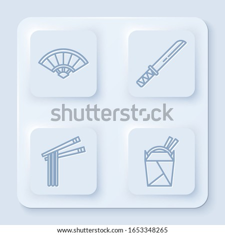 Set line Paper chinese or japanese folding fan, Traditional Japanese katana, Asian noodles and chopsticks and Asian noodles in paper box and chopsticks. White square button. Vector