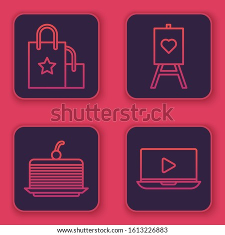 Set line Paper shopping bag, Cake, Wood easel or painting art boards and Online play video. Blue square button. Vector