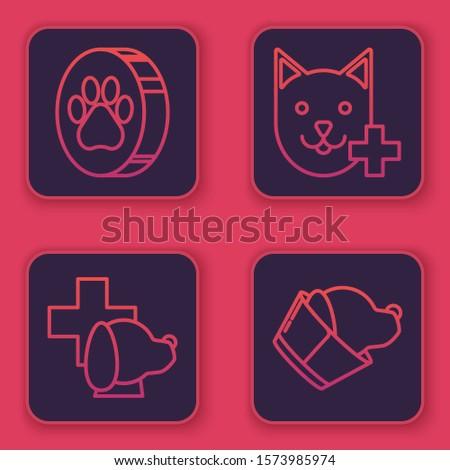 Set line Paw print, Veterinary clinic symbol, Veterinary clinic symbol and Veterinary clinic symbol. Blue square button. Vector