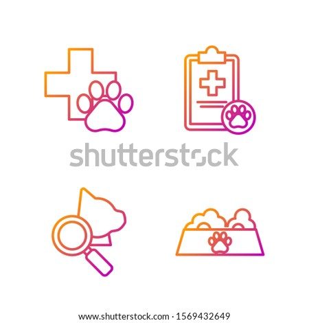 Set line Pet food bowl for cat or dog, Veterinary clinic symbol, Veterinary clinic symbol and Clipboard with medical clinical record pet. Gradient color icons. Vector