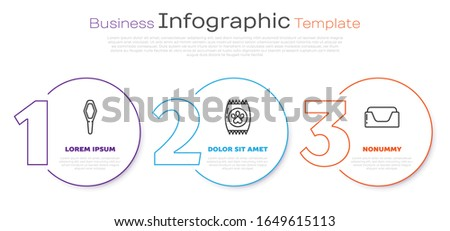 Set line Pets vial medical, Bag of food for pet and Pet bed. Business infographic template. Vector