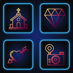Set line Photo camera, Amour symbol with heart and arrow, Church building and Diamond. Gradient color icons. Vector