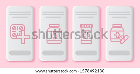 Set line Pills in blister pack, Medicine bottle, Medicine bottle and Medicine bottle and pills. White rectangle button. Vector
