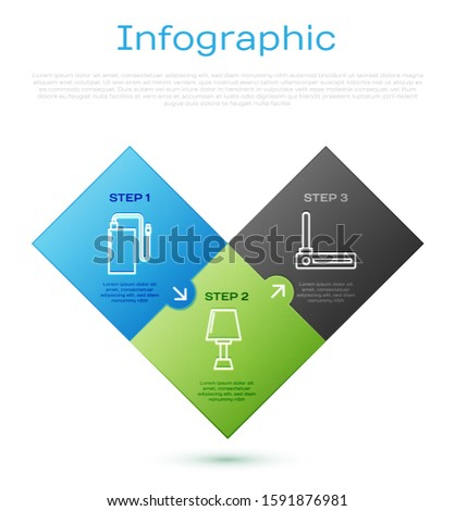 Set line Power bank with different charge cable , Router and wi-fi signal  and Table lamp . Business infographic template. Vector