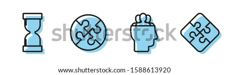 Set line Project team base, Old hourglass with flowing sand, Piece of puzzle and Piece of puzzle icon. Vector