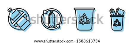 Set line Recycle bin with recycle symbol, No plastic bottle, Recycling plastic bottle and Recycle bin with recycle symbol icon. Vector